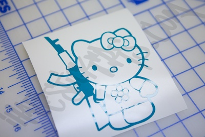 Hello Kitty AK47 Diecut Sticker