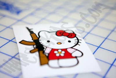 Hello Kitty AK47 Printed Sticker