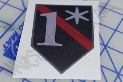 One Asterisk Red Line Badge Sticker
