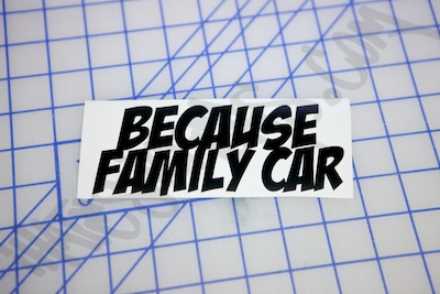Because Family Car Die Cut Sticker