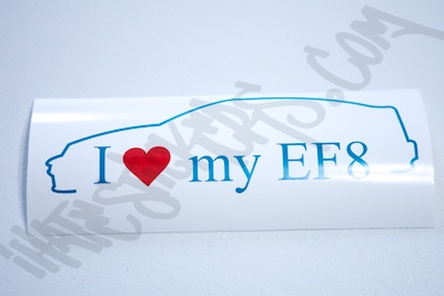 I Heart My EF8 Outline Specialty Sticker