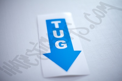 Tug Down Sticker