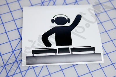 Waving Dj Die Cut Sticker