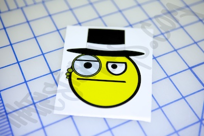 Unamused Top Hat Smiley Sticker