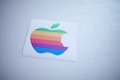 Apple Rainbow Logo with Jobs Face Sticker